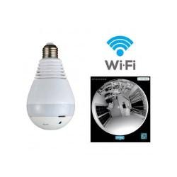 CAMERA LAMPADA LED WIFI IP HD PANORAMICA ÚNICA 360º ESPIÃO